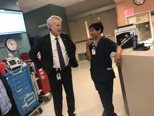 Jeff Pucket. visits with CVICU RN Edith Pammitt