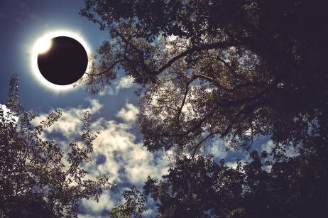 Scientific natural phenomenon. Total solar eclipse with diamond ring.