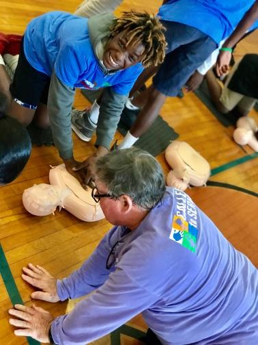 Cabrini CPR lesson