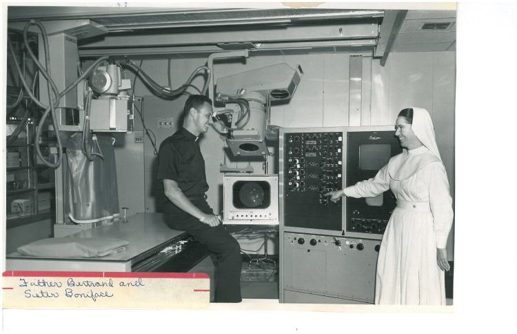 Father Bertrand and sister BOniface - He was first Heart Cath. to go with NP article 8-6-1961