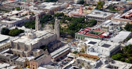 Aerial view of downtown Merida, Yucatan's city square and cathedral.
