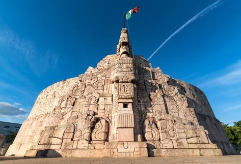Wide angle shot of Homeland Monument, Paseo Montejo, Merida Yucatan